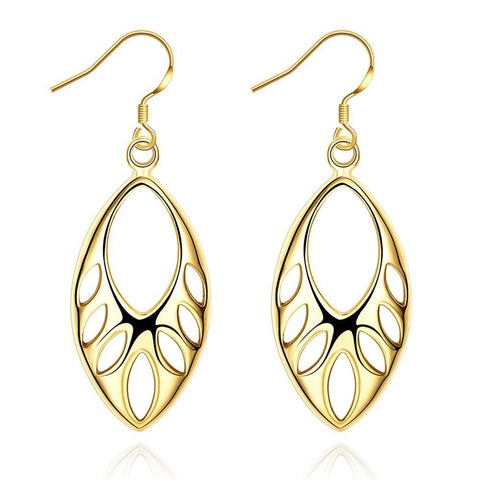 Gold Plated Laser Cut Hollow Drop Down Earrings - rubiquejewelry.com