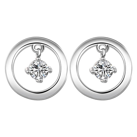 Sterling Silver Petite Mini Circular Stone Drop Stud Earring - rubiquejewelry.com