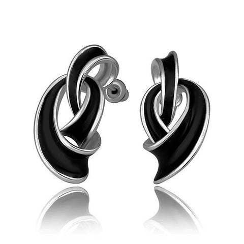 18K White Gold Abstract Intertwined Onyx Drop Down Earrings Made with Swarovksi Elements - rubiquejewelry.com
