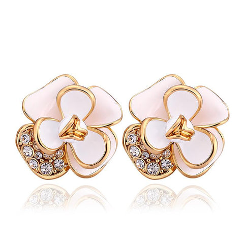 18K Gold Double Ivory Covering Floral Petal Stud Earrings Made with Swarovksi Elements - rubiquejewelry.com