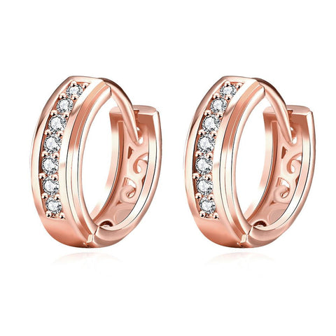 Rose Gold Plated Fifth Avenue Inspired Hoop Earrings - rubiquejewelry.com