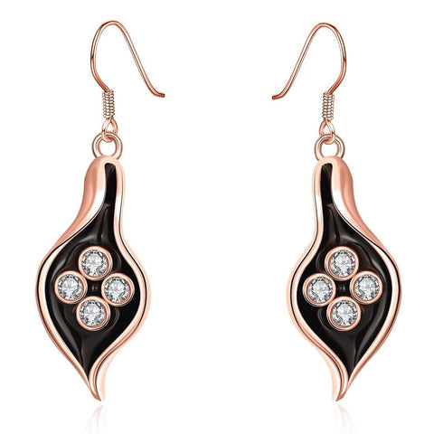 18K Rose Gold Drop Down Leaf Branch Earrings Made with Swarovksi Elements - rubiquejewelry.com