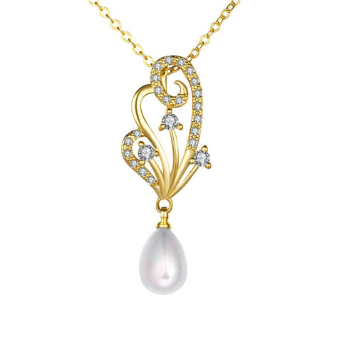 Gold Coloring Curved Orchid Cultured Pearl Necklace - rubiquejewelry.com