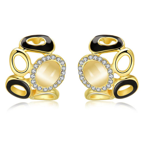 18K Gold Artistic Design Stud Earrings Made with Swarovksi Elements - rubiquejewelry.com