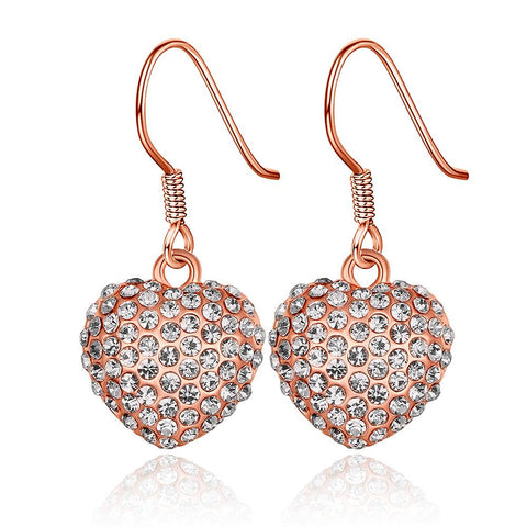18K Rose Gold Drop Down Heart Earrings Made with Swarovksi Elements - rubiquejewelry.com