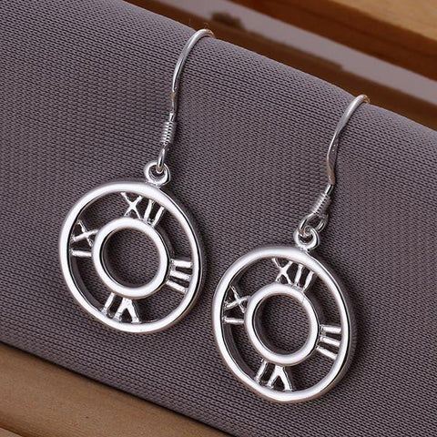 Sterling Silver Roman Numerals Drop Earring - rubiquejewelry.com