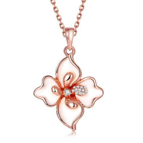 Rose Gold Plated Ivory Diamond Petals Necklace - rubiquejewelry.com