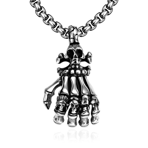 Five Fingers Stainless Steel Emblem Necklace - rubiquejewelry.com