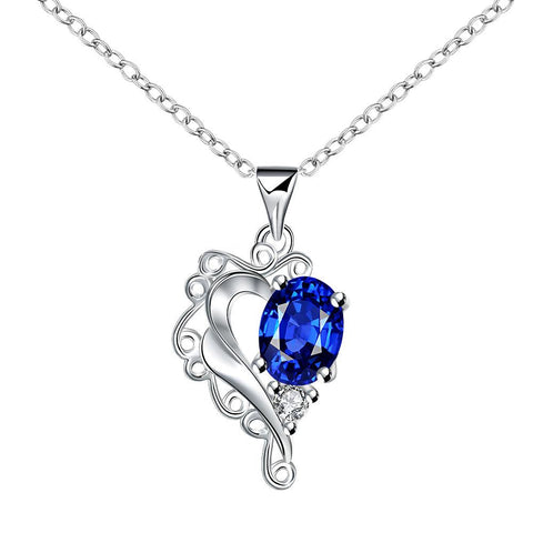 Blossoming Sapphire Heart Shaped Drop Necklace - rubiquejewelry.com