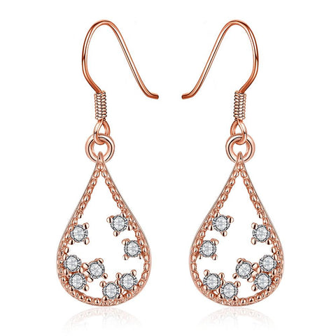 Rose Gold Plated Modern Filligree Drop Down Earrings - rubiquejewelry.com