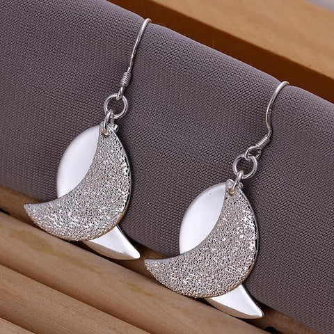 Sterling Silver Duo-Abstract Curved Earring - rubiquejewelry.com
