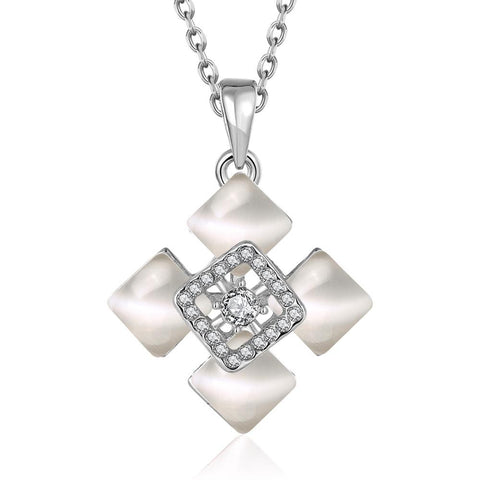 White Gold Plated Quad Diamond Ivory Necklace - rubiquejewelry.com