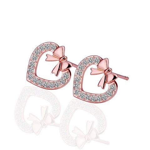 18K Rose Gold Heart Shaped Bow Tie Stud Earrings Made with Swarovksi Elements - rubiquejewelry.com