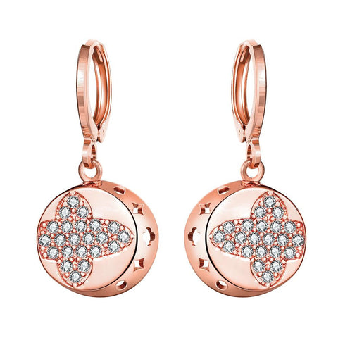 Rose Gold Plated Mini Cross Circular Drops - rubiquejewelry.com