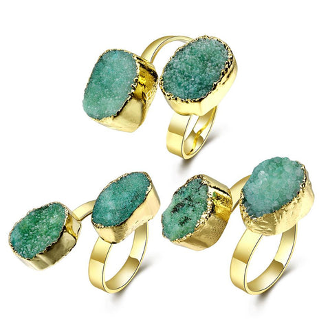 Emerald Double Natural Crystal Resizeable Ring - rubiquejewelry.com