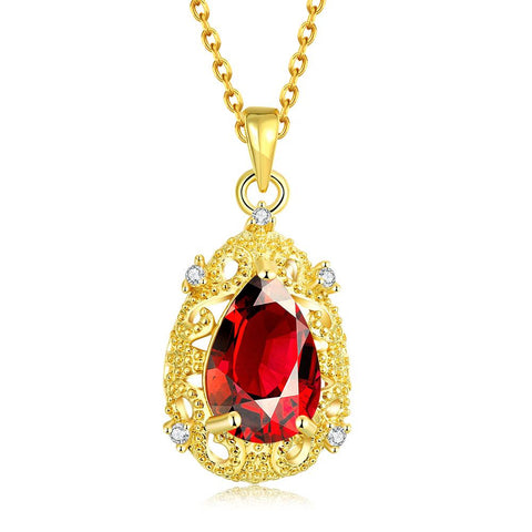 Gold Plated Classic Paris Ruby Necklace - rubiquejewelry.com