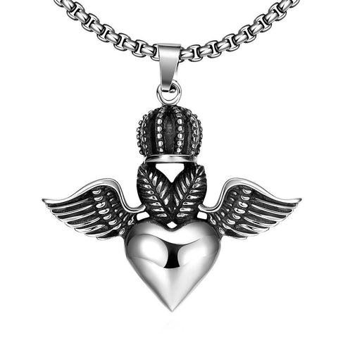 Flying Hearts Emblem Stainless Steel Necklace by Rubique Jewelry