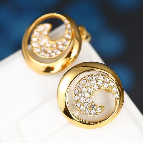 18K Gold Swirl Stud Earrings Covered with Jewels Made with Swarovksi Elements - rubiquejewelry.com