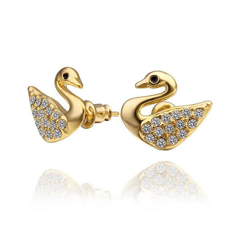 18K Gold Dove Shaped Stud Earrings Made with Swarovksi Elements - rubiquejewelry.com