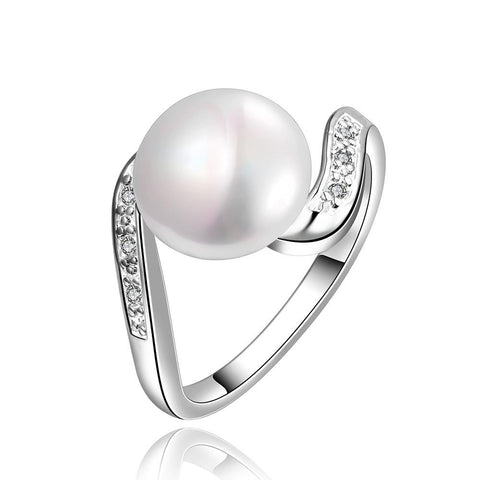White Gold Plated Curved Cultured Pearl Ring - rubiquejewelry.com