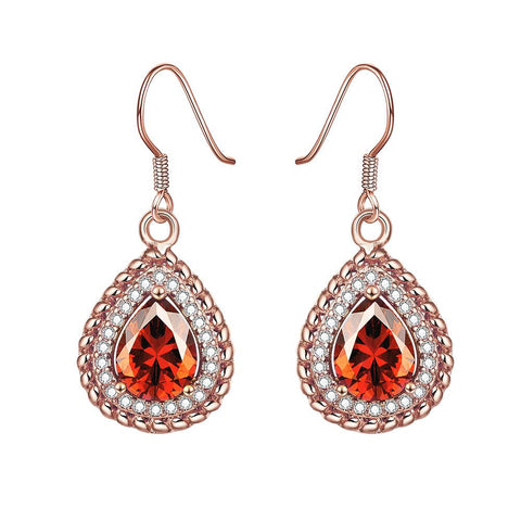 Rose Gold Plated Ruby Gem Encrusted Drop Downs - rubiquejewelry.com