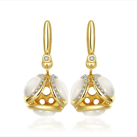 18K Gold Double Side Pearls Drop Down Earrings Made with Swarovksi Elements - rubiquejewelry.com