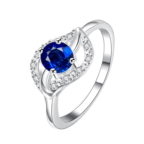 Classical Mock Sapphire Floral Petal Ring - rubiquejewelry.com