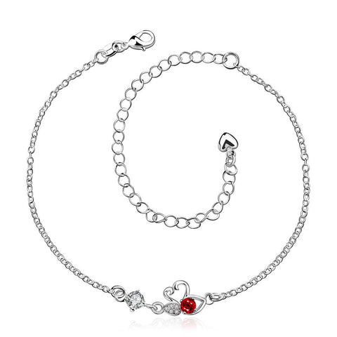 Ruby Red Mini Butterfly Classic Anklet - rubiquejewelry.com