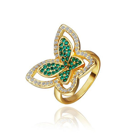 Gold Plated Emerald Flying Butterfly Ring - rubiquejewelry.com