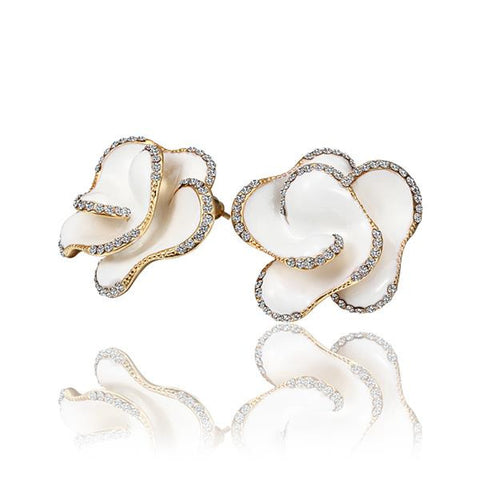 18K Gold Ivory Colored Rose Petal Stud Earrings Made with Swarovksi Elements - rubiquejewelry.com