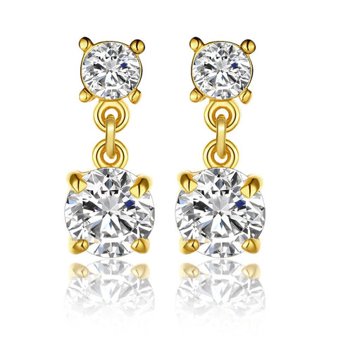 18K Gold Double Swarovski Jewels Drop Down Earrings Made with Swarovksi Elements - rubiquejewelry.com