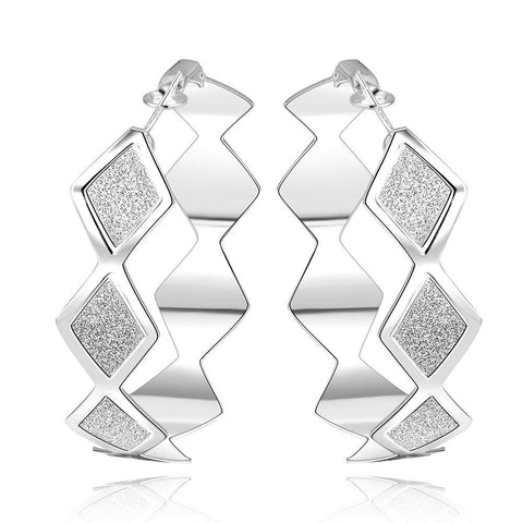 Sterling Silver Square Shaped Design Hoops - rubiquejewelry.com