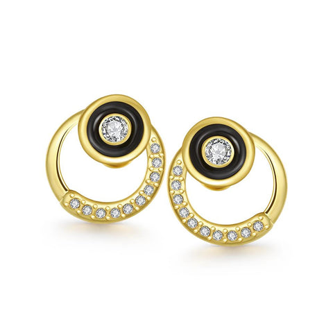 18K Gold Circular Abstract Earrings Made with Swarovksi Elements - rubiquejewelry.com