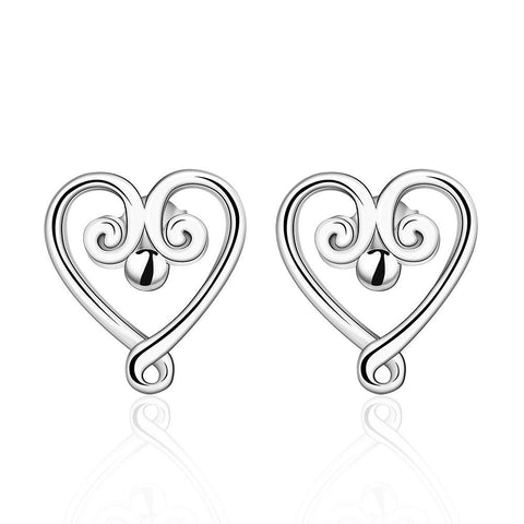 Sterling Silver Pearl Curved Heart Shaped Earring - rubiquejewelry.com