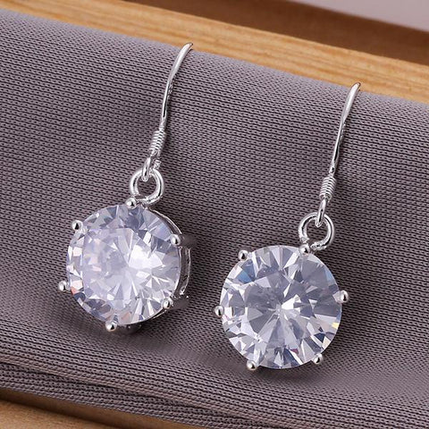 Sterling Silver Classic Crystal Earring - rubiquejewelry.com