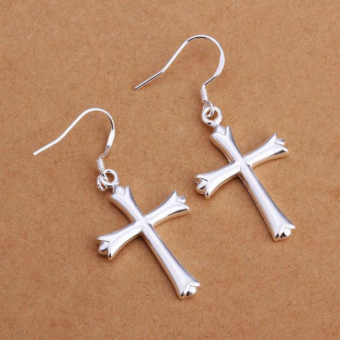 Sterling Silver Classical Cross Earring - rubiquejewelry.com