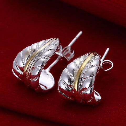 Sterling Silver Curved Leaf Branch Earring - rubiquejewelry.com