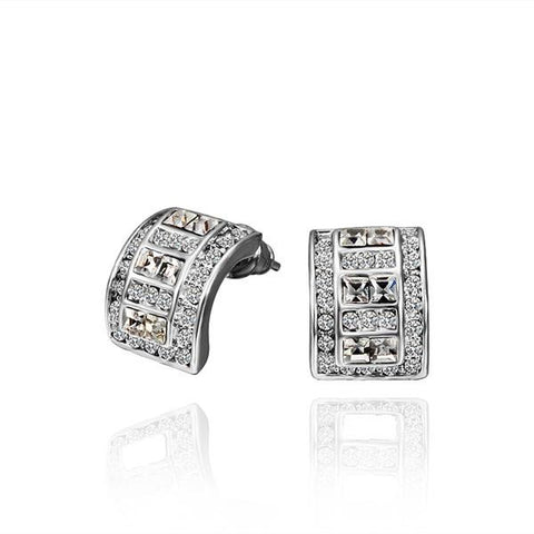 18K White Gold 1/2 Hoop Earrings with Crystal Jewels Made with Swarovksi Elements - rubiquejewelry.com