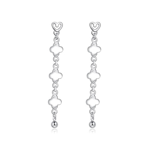 Sterling Silver Clover Shaped Drop Earring - rubiquejewelry.com