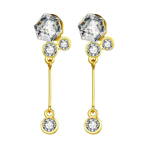 18K Gold Singular Drop Earrings with Swarovski Jewels Made with Swarovksi Elements - rubiquejewelry.com