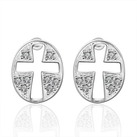 Sterling Silver Hollow Cross Stones Stud Earring - rubiquejewelry.com