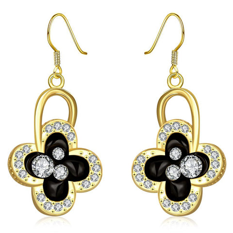 18K Gold Drop Down Floral Earrings Made with Swarovksi Elements - rubiquejewelry.com