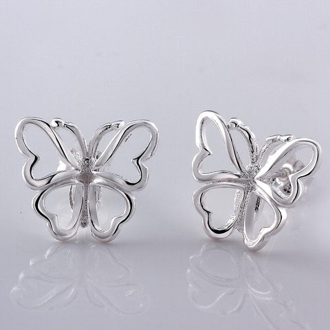 Sterling Silver Hollow Flying Butterfly Stud Earring - rubiquejewelry.com