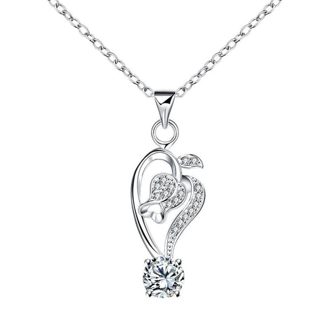 Curved Abstract Heart Dangling Crystal Stone Drop Necklace - rubiquejewelry.com