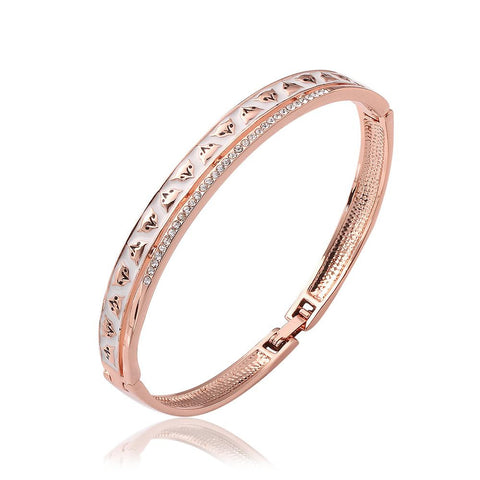 18K Rose Gold Bangle with Classic Ingrained Designs with Swarovski Elements