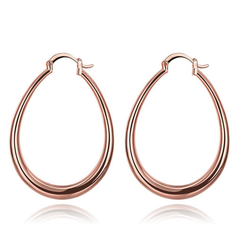 Rose Gold Plated Endless Hoop Earrings with Snap Backs - rubiquejewelry.com