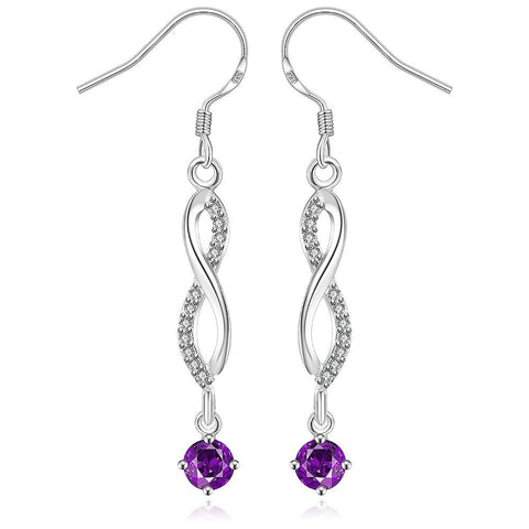 Sterling Silver Thin Line Vertical Drop Purple Citrine Earring - rubiquejewelry.com
