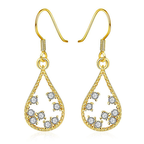 Gold Plated Modern Filligree Drop Down Earrings - rubiquejewelry.com