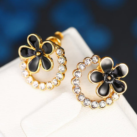 18K Gold Floral Hoop Earrings Made with Swarovksi Elements - rubiquejewelry.com