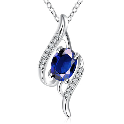 Mock Sapphire Gemstone Spiral Drop Necklace - rubiquejewelry.com
